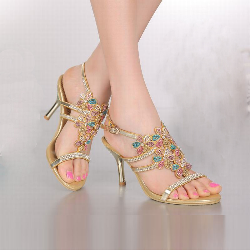 hot 2018 new arrival bling bling rhinestone flower high heels sandals colorful crystal women gold peep toe shoes plus size 34-44