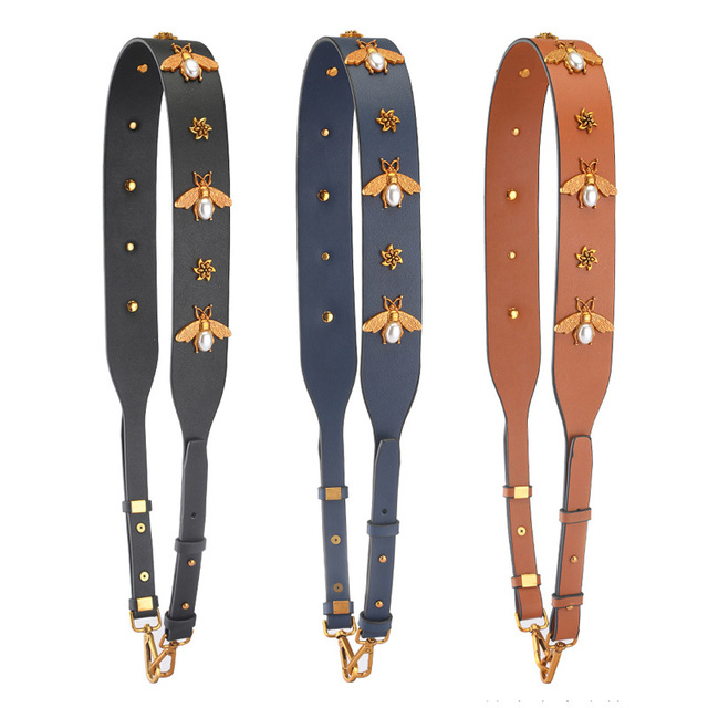 84b37cb584353 Luxury Leather DIY Handbag Strap Bee Diamonds Ladies Crossbody Bag Belts  Adjustable Long Female Shoulder Bag Straps Wide KZ0396