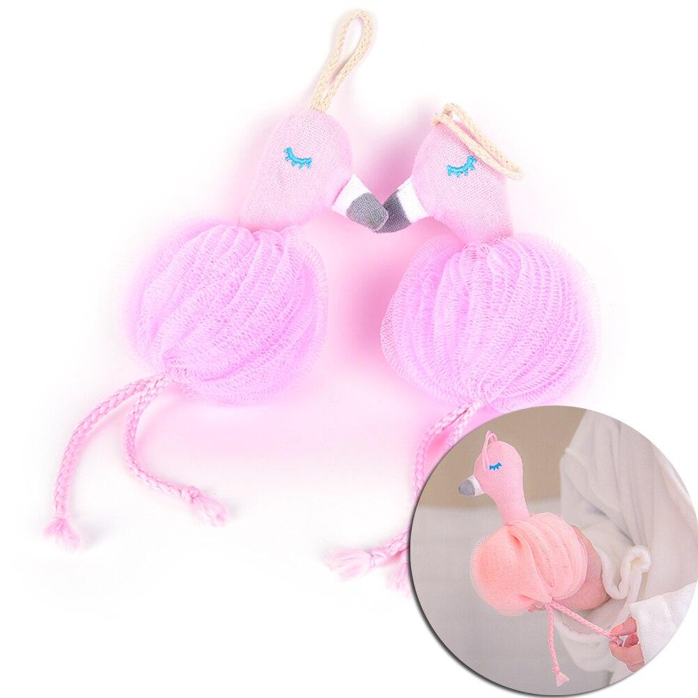 1 St Roze Flamingo Bad Bal Bathsite Badkuipen Scrubber Body Reiniging Mesh Douche Wassen Product Bad Bloem Badhanddoek Het Hele Systeem Versterken En Versterken