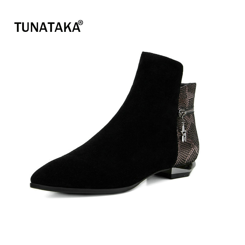Suede Comfort Flat With Side Zipper Woman Ankle Boots Fashion Pointed Toe Dress Boots Woman Winter Black