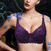 Womens Underwear Underwire Plunge Push Up Embroidery Brassiere Floral Lace font b Bra b font Push