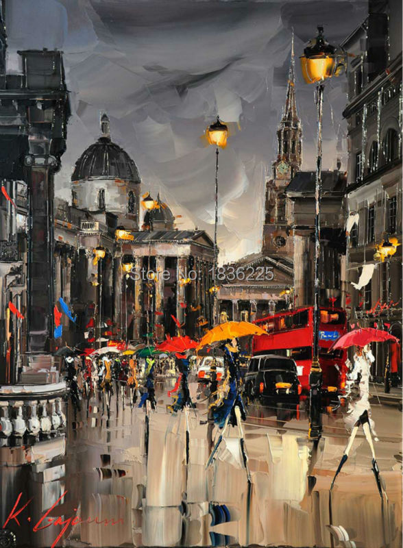 people under umbrella <font><b>walk</b></font> on street in the night <font><b>New</b></font> <font><b>york</b></font> <font><b>city</b></font> Modern Living Room Decorative Pictures wall Canvas Painting