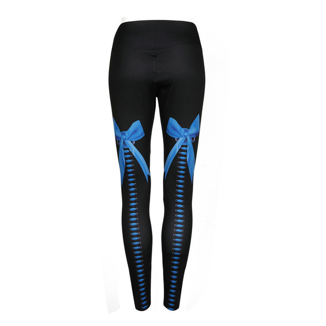 2018 Women Sporting Leggings Clothing Fitness push up sexy Bow digital printing leggings hip elastic high waist black leggings