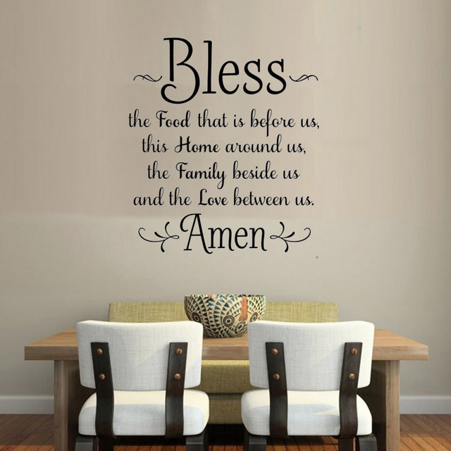 60e55e7a95d bless the food before us amen kitchen Dining Room Wall Sticker Family Amen  God Quote Wall Decal Home Decor Vinyl Decal EA030
