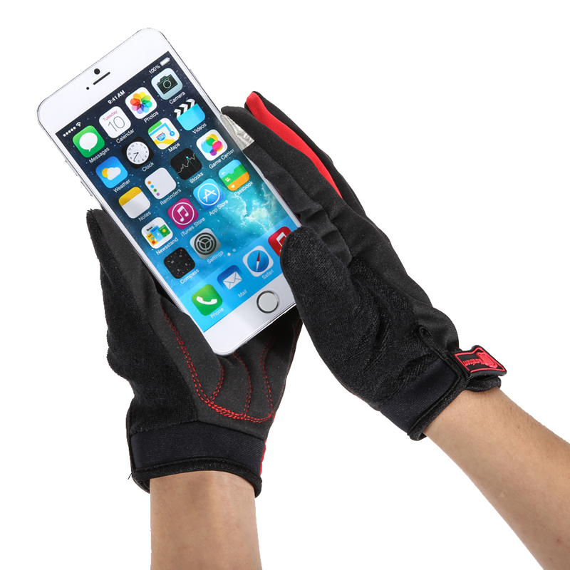 1Pair Outdoor Riding Bike Bicycle Gloves Full Finger Touch screen Windproof Tactical Mitten Warm polar fleece glove Size L/XL