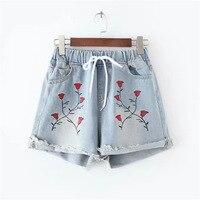 Plus size Vintage bloemen geborduurde shorts Vrouwen bloem borduren shorts Elastische hoge waisted denim jeans Blauw korte vrouwelijke