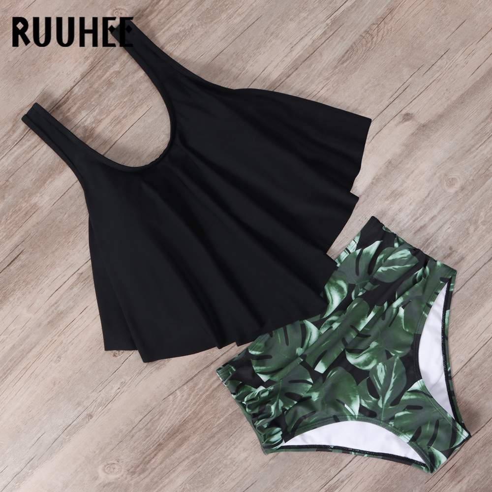 RUUHEE High Waist Bikini Swimsuit Swimwear Women Tankini Bikini Set Push Up Bathing Suit Beachwear Women Ruffle Swimming Suit