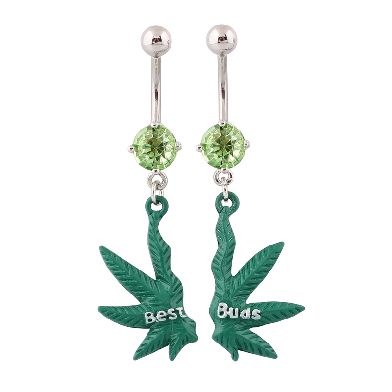 Navel Rings Best Buds Green Maple Leaf Belly Button Ring -6335