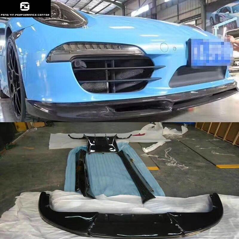 911 перед углеродного волокна губы задний диффузор сбоку юбки задний спойлер для Porsche 911 Carrera 991 GT3 Vorsteiner стиль кузова комплект