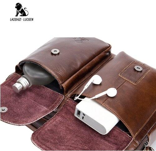 LAOSHIZI LUOSEN men Genuine Leather Shoulder Messenger Bag men's Handbag Vintage Crossbody Bag Tote Business Man Messenger Bag 4