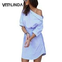 Casual Dress Shirts Women Summer Vestidos De Festa Trendy One Shoulder Half Sleeve Stripper Dress Sashes
