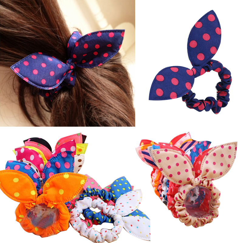 20pcs Hair Band Ties Hair Gum Polka Dot Rope Hair Accessories Bow Tie Girls Rabbit Ears Rubber Band Head Bands Colorful   Headwear