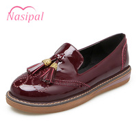 Nasipal Vogue Retro Oxford Shoes Woman Shallow Mouth Hollow Out Tassel Ladies Casual Flat Oxford Shoes
