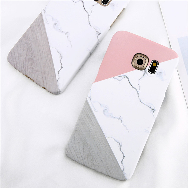 Loveabay Phone Case For Samsung Galaxy S6 S7 Edge Marble Geometric Stitching Stone Hard Back Cover Cases For Galaxy S8 S9 Plus  1