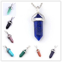 Wholesale 15Pcs Classic Silver Plated Mix 15 kinds of color Stone Hexagon Prism Beads Healing Point Chakra Pendant