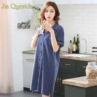 J&Q Night Dress Women 2019 Summer New 100% Cotton Night Wear Lapel Stripe Sleepwear Plus Size Pj Lingerie Femme Women Nightwear