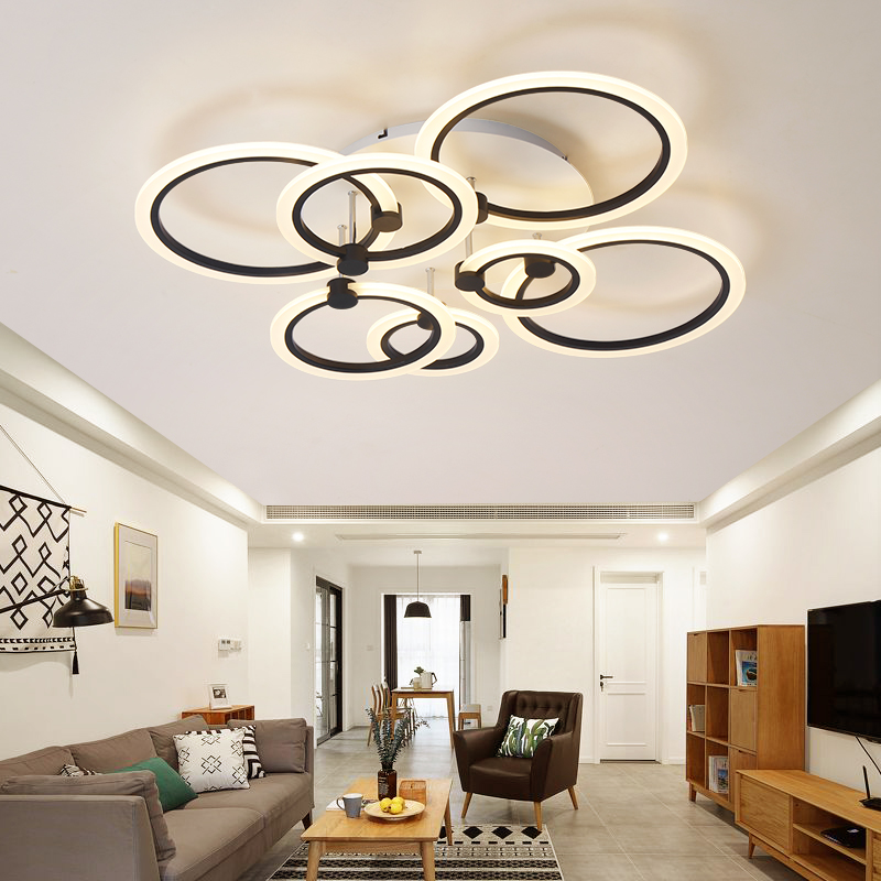 rings white black chandeliers LED circle modern chandelier lights for living room acrylic Lampara de techo indoor Lighting noosion modern led ceiling lamp for bedroom room black and white color with crystal plafon techo iluminacion lustre de plafond