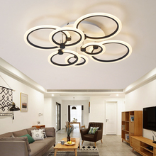 rings white black chandeliers LED circle modern chandelier lights for living room acrylic Lampara de techo indoor Lighting