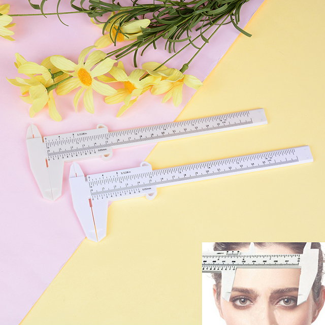 Portable 150MM Plastic Eyebrow Permanent Makeup Measurement Tools Measuring Vernier Caliper Tattoo Microblading Caliper Ruler