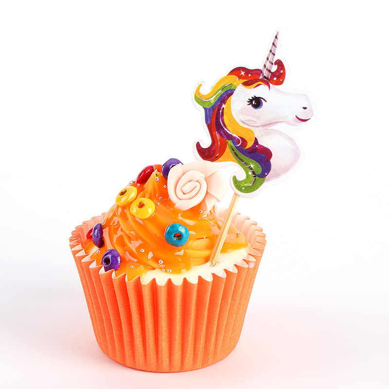 24pcs/bag Unicorn Cupcake Topper Unicorn Party Wedding Happy Birthday Cake  Decorating Unicorn Cake Topper Baby Shower Decoration