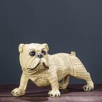Bulldog Dog Camouflage Newspaper Art Statue Animal Decorative Figurine Resin Art&Craft Home Decoration R197