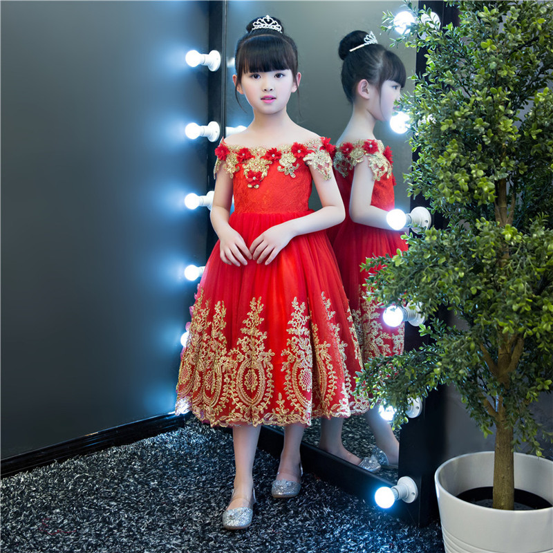 Children  Beading Appliques Embroidery Ball Gown Shoulderless Red Flower Girl Dresses First Communion Dresses For Girls E1Children  Beading Appliques Embroidery Ball Gown Shoulderless Red Flower Girl Dresses First Communion Dresses For Girls E1