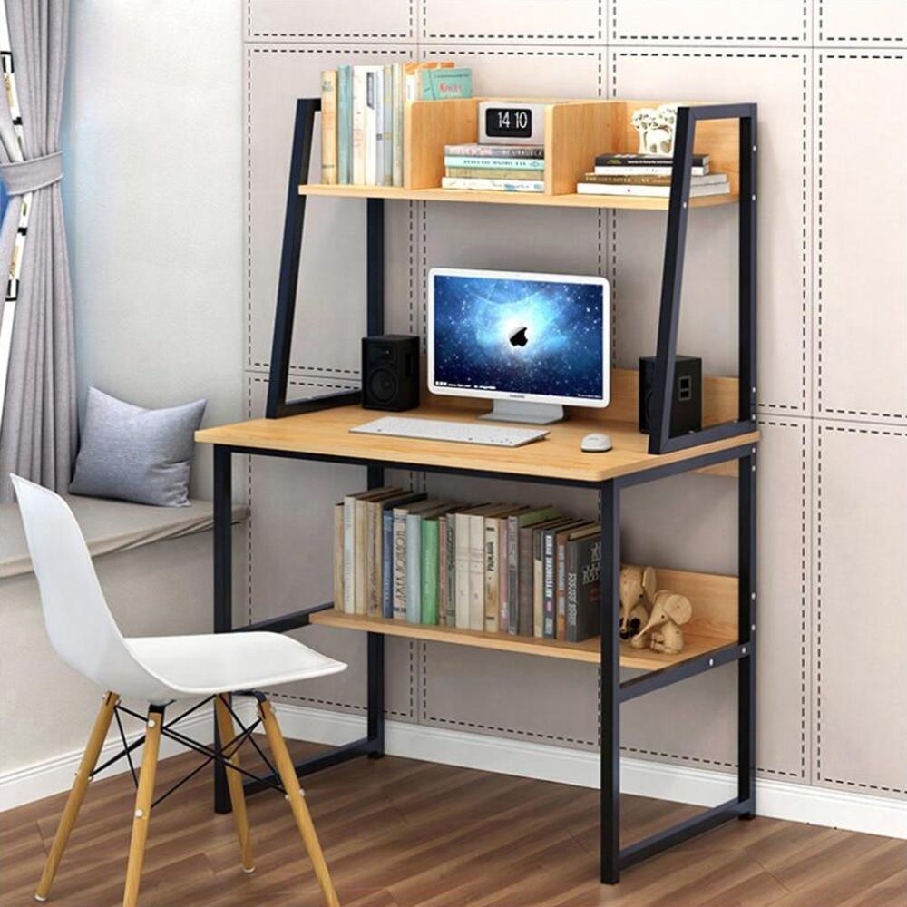 ANMAS accueil bureau d'ordinateur moderne avec étagères à 2 niveaux PC poste de travail Table d'étude bureau à domicile blanc/jaune choisir