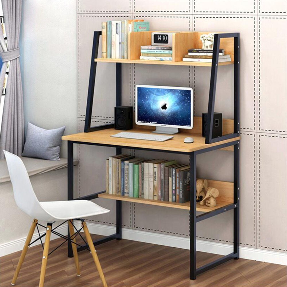 Modern Computer Desk With 2-Tier Shelves PC Workstation Study Table Home Office White/Yellow Choose