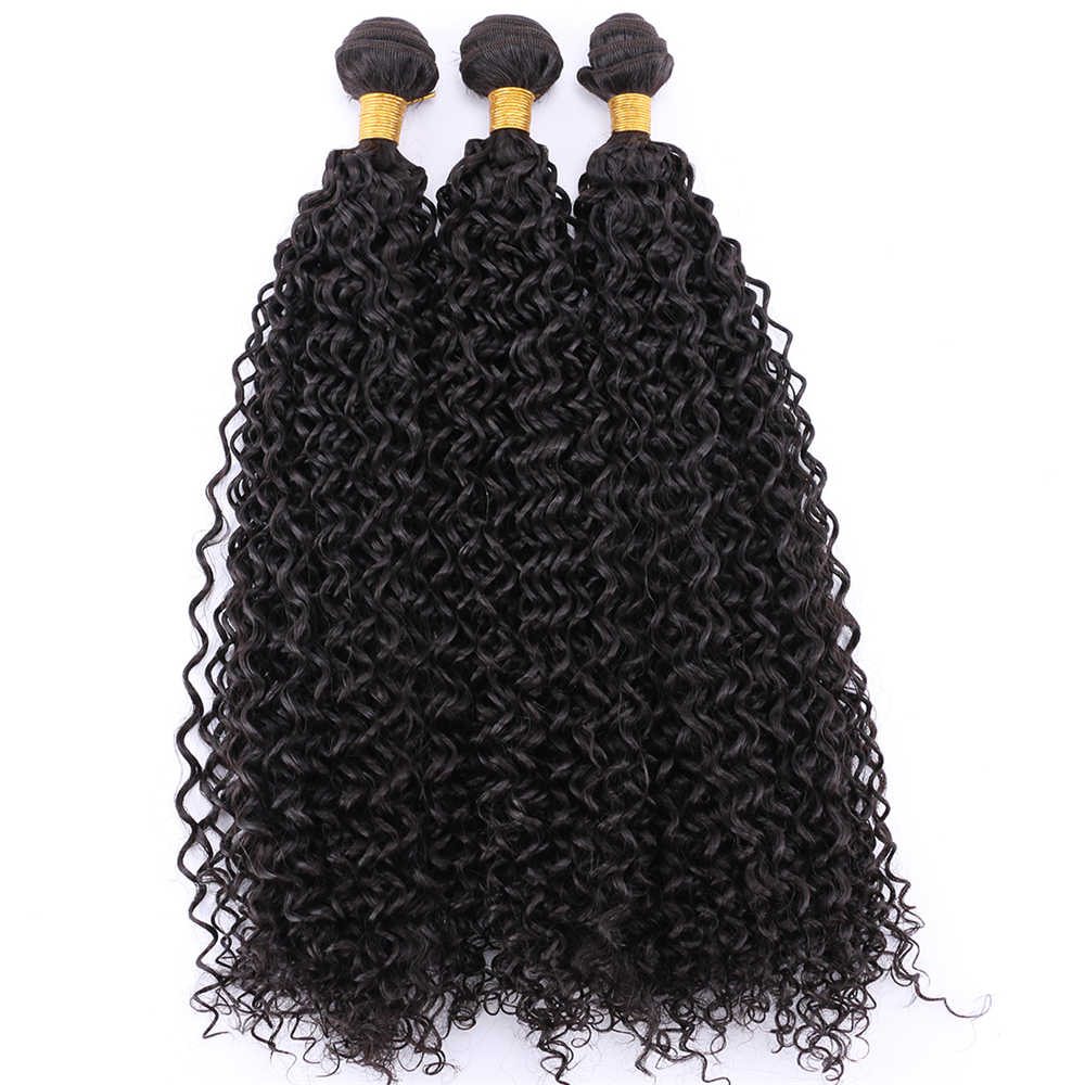 Natural black afro kinky curly hair high temperature tissage fiber synthetic hair extensions  hair weave