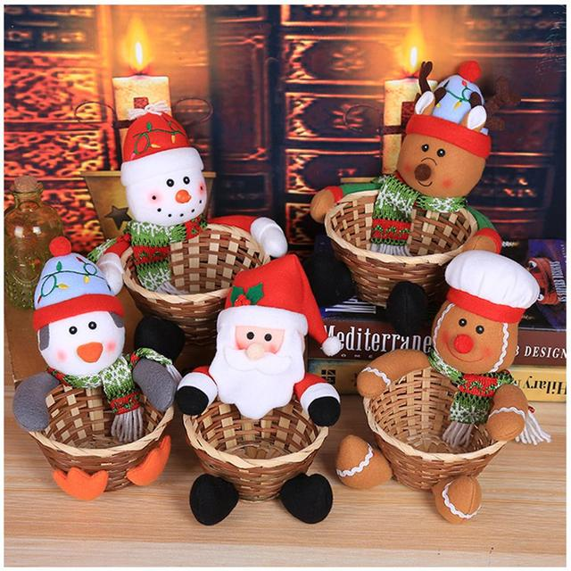 1pcs christmas decoration large size gingerbread man snowman penguin candy bag basket desktop decoration childrens candy