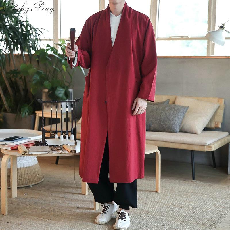 Traditional chinese clothing for men Japanse streetwear mens kimono jacket tangzhaung cheongsam male clothing Q576
