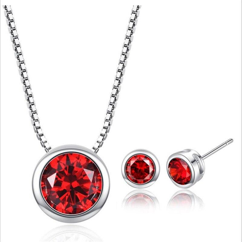 LUKENI Trendy Cristal Vermelho Fêmea Rodada Pingentes Colar Conjuntos de Jóias de Moda Brincos de Prata 925 Do Parafuso Prisioneiro Para As Mulheres Do Partido Presente Da Menina