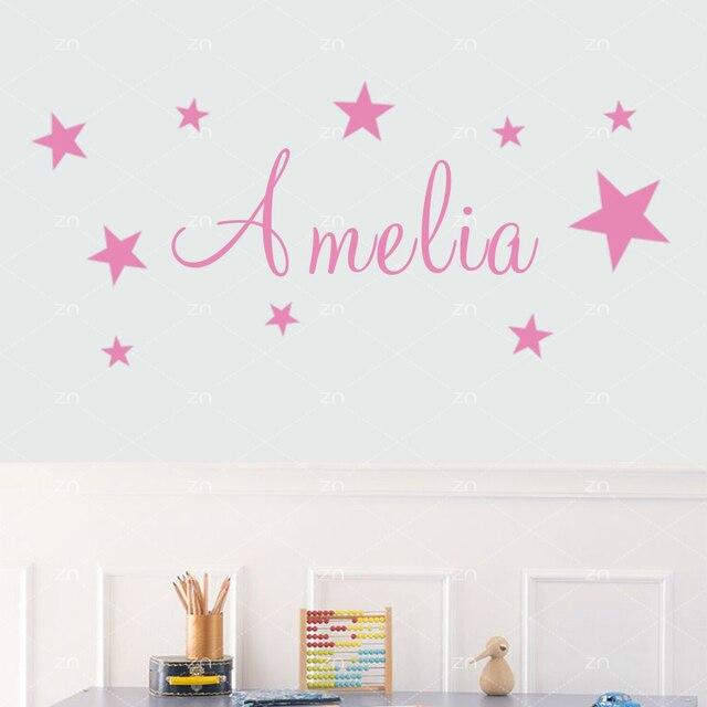 lh488 stars personalise custom name vinyl wall sticker for kids room