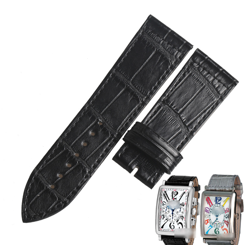WENTULA Watchbands For Franck Muller FM1002QZ /1100DS Rcalf-leather Band Cow Leather Genuine Leather Leather Strap Watch Band