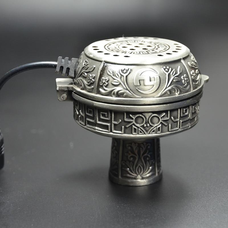 Metal E Shisha Smokepan Electronic Shisha Tobacco Bowl with Ceramic Charcoal Holder Hookah Chicha Nargile Waterpijp Accessories