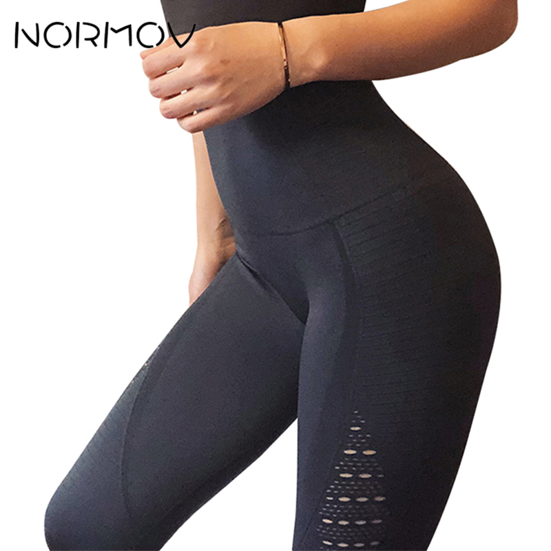 NORMOV Seamless High Waist Yoga Leggings Tights Women Workout Mesh Breathable