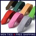 Nuevo estilo 6 cm Color sólido fino delgado lazo estrecho moda flaco corbatas escuela boda Casual Formal corbata 17 colores envío de la gota
