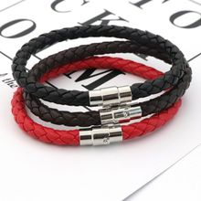 Fashion High Quantity Red Black Coffee Magnetic Buckle Friendship Braid Leather Bracelet Wristband For Men Women Jewelry Gift