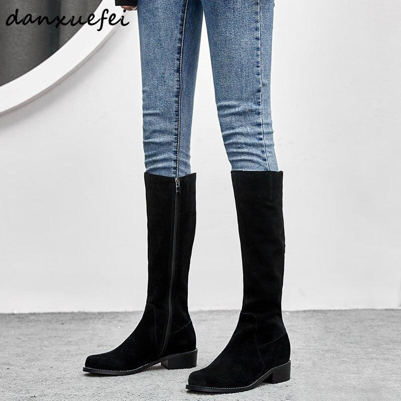 black 4 5cm Genuino Caballero Zapatos Cálido 43 De 2 5cm Black Calidad Invierno Largo 33 Las Botas Gamuza Altas Heel Plus Cuero Heel Tamaño Mujeres 0qw1UU