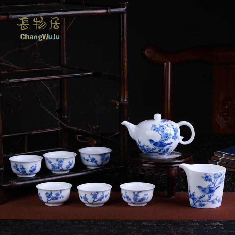 Changwuju dans le thé en porcelaine de Jingdezhen, le thé chinois Kung-Fu bleu et blanc fait à la main peint à la main par Jinhongxia