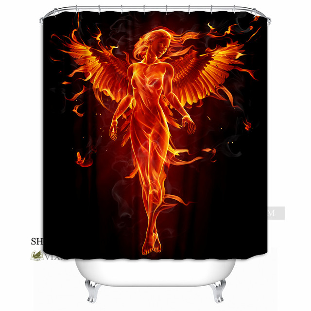 VIXM Home Born Of Fire Phoenix Fabric Shower Curtain Red