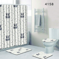 Bathroom Rugs and Mat Set Shower Curtain Waterproof Modern Simplicity Carpet Bathroom Toilet Mat Set Anti Slip with Lid Cover