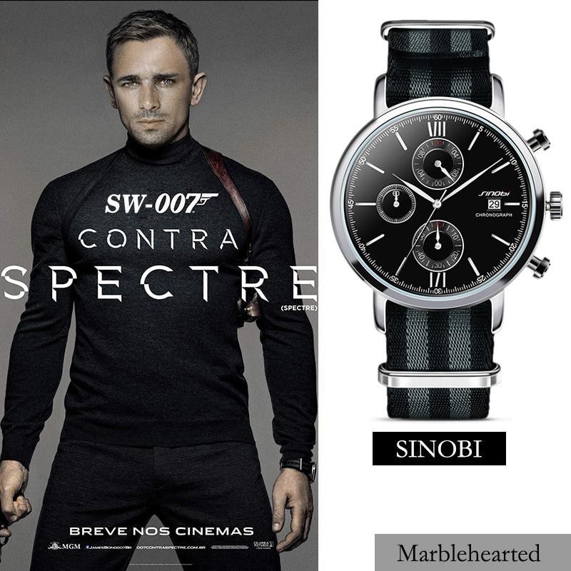 SINOBI Men Sports Military Watches with NATO Nylon Watchband Male Chronograph Quartz Wristwatch Waterproof James Bond 007 Clock