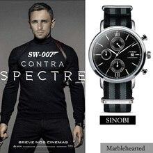 SINOBI Hombres Deportes Militar Relojes con Correa de Nylon de LA OTAN James Bond 007 Reloj Hombre Cronógrafo de Cuarzo Reloj de Pulsera A Prueba de agua