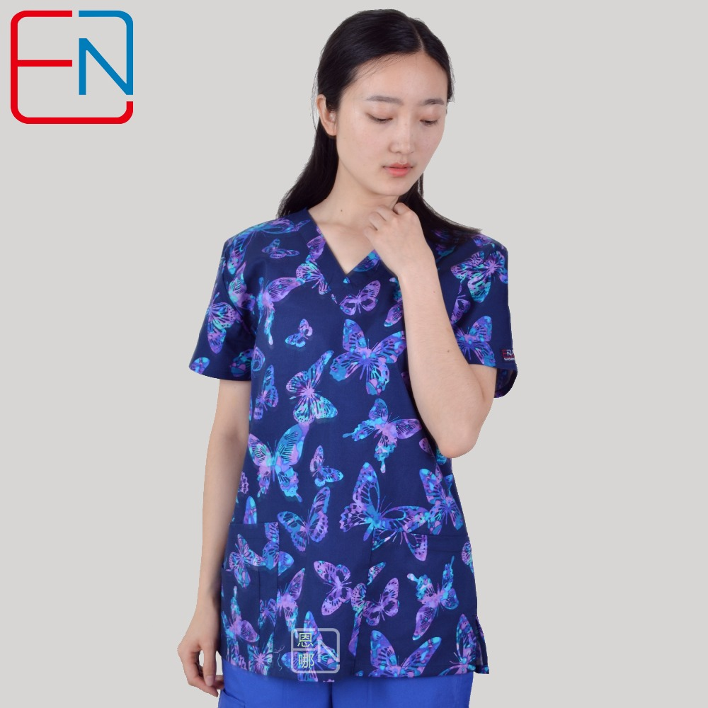 Brand medical scrub tops for women surgical scrubs,scrub uniform in 100% print cotton maotou series