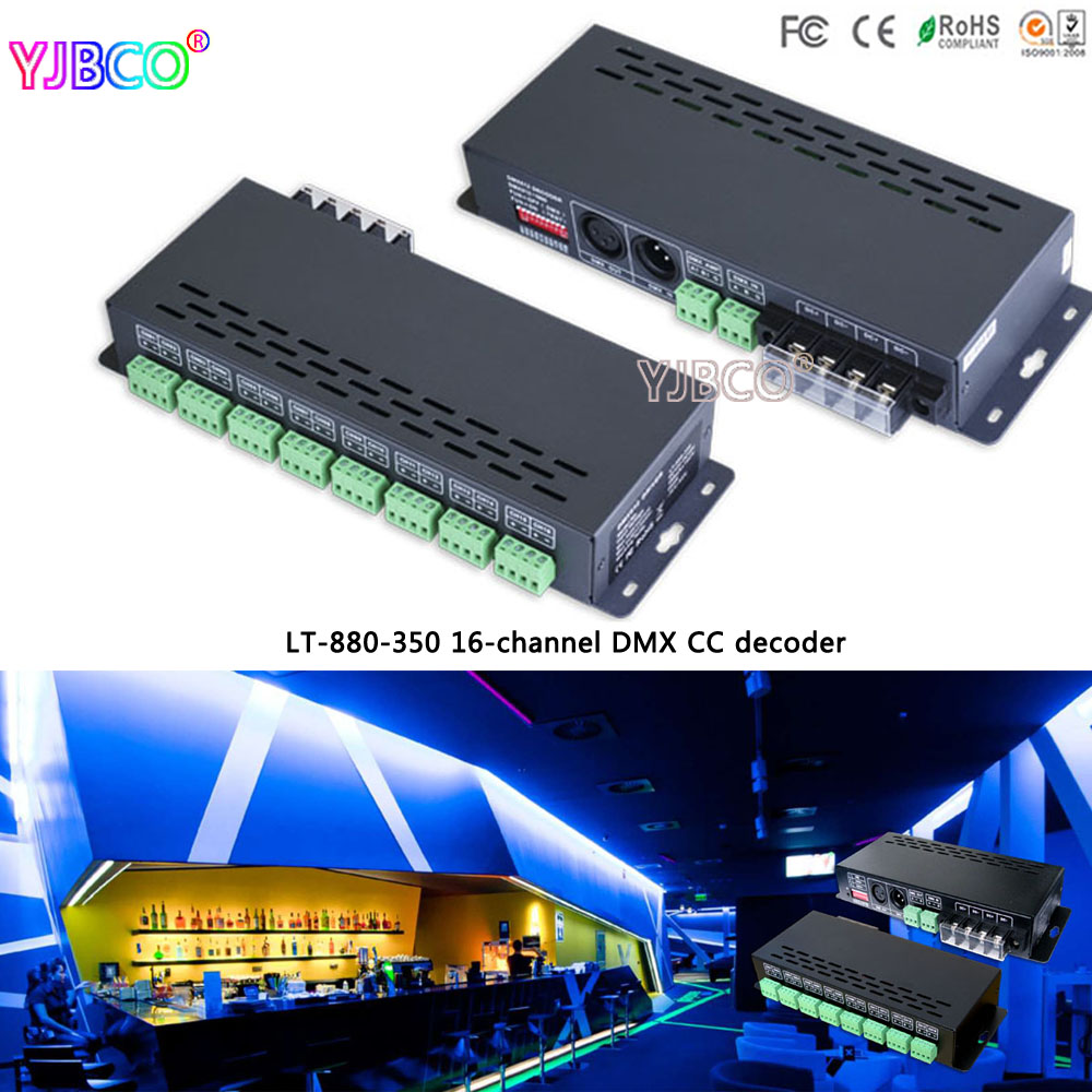 fast shipping LT-880-350 16CH DMX-PWM constant current decoder driver;DC12-48V input;350ma*16CH output for led strip lights led constant voltage dmx pwm decoder dimmer lt 820 5a 8 16 bits optional oled display 4channel 5a 4channel max 20a output