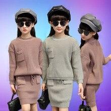 993e933f1 Suéter Niñas Ropa conjunto Top y Falda de punto suelto de manga larga otoño  niños traje de ropa de niño de 3 4 5 6 7 8 9 10 11 1.