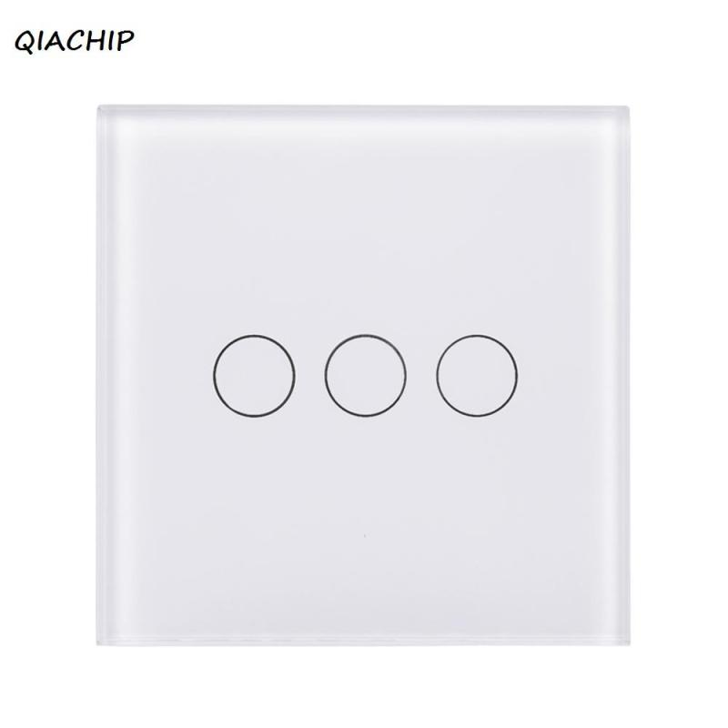 UK WiFi Smart 3 Gang Light Wall Switch Touch Screen White Crystal Tempered Glass Panel APP Control For Amazon Alexa Google Home sonoff t1 smart wifi rf app touch control wall light switch 1 2 3 gang 86 type uk panel wall touch light switch alexa nest