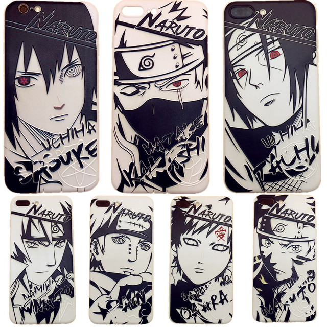online store 9c261 a0c9c US $3.22 10% OFF Sketch Naruto mens case cool for Apple iphone 7 8 X XSMAX  XR silicone back cover cartoon Kakashi 6 6s 7 8 plus soft shell Sasuke-in  ...