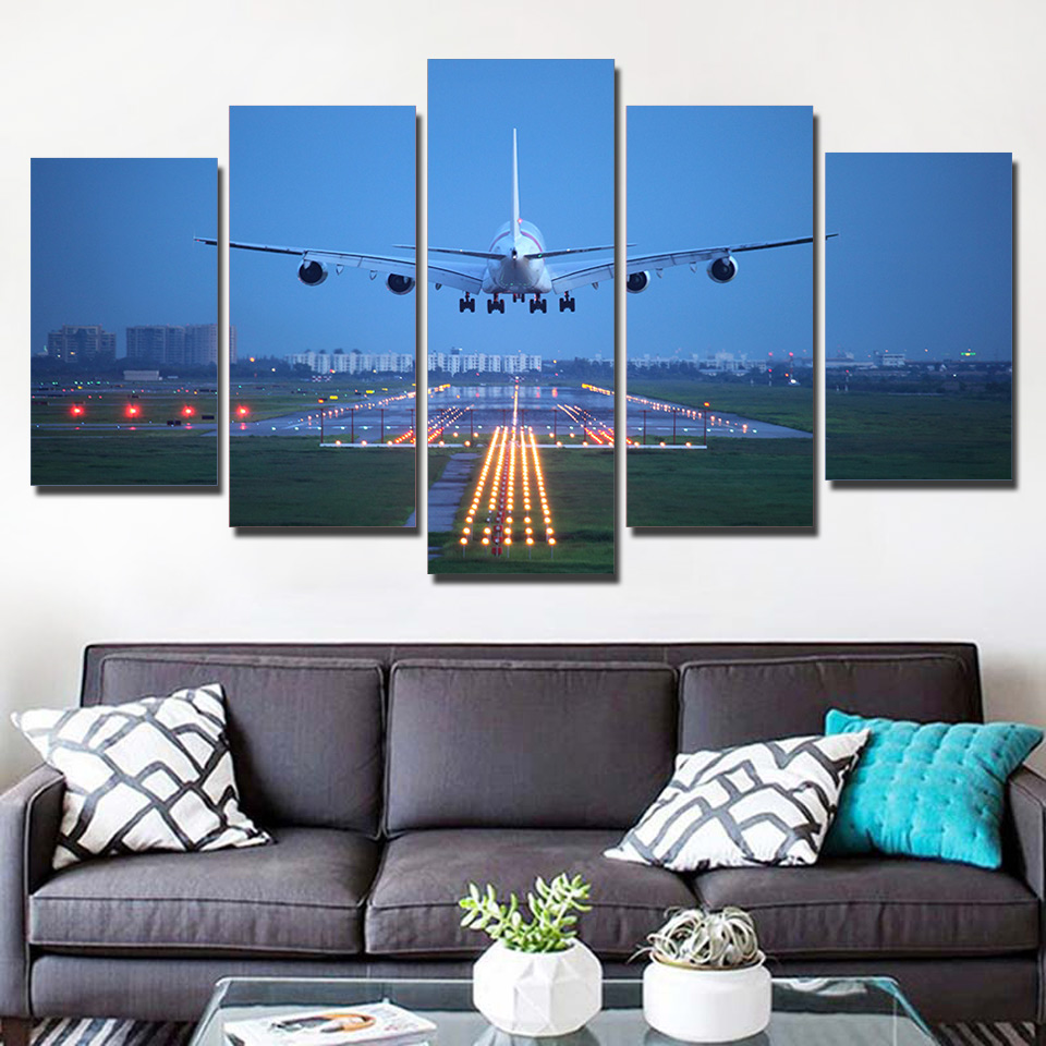 HD Prints Canvas Poster Modular Wall Art Pictures Framework 5 Panels White Airplane Flight Painting Living Room Home Decoration image